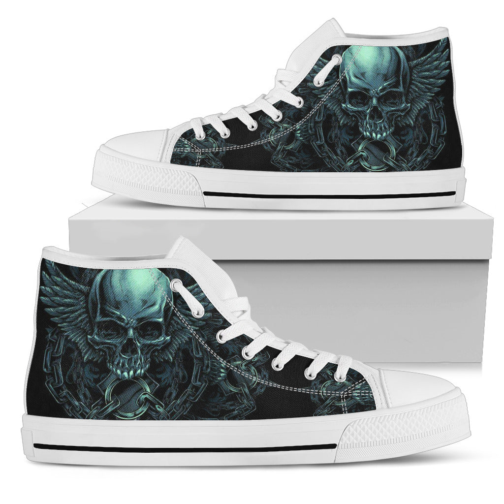 Black Skull Lightweight High Top Canvas Shoes - designfullprint