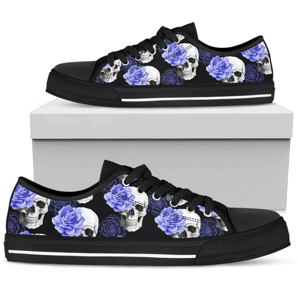 Skull Low Top Canvas Shoes 07 Women, Black/White - designfullprint