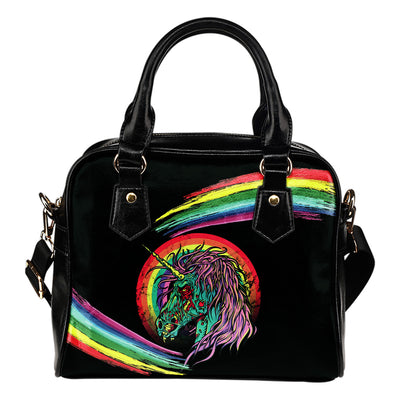 Unicorn Skull Leather Shoulder Bag 002