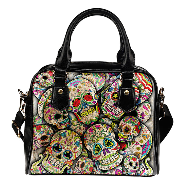 Sugar Skull Collage Shoulder Handbag - designfullprint