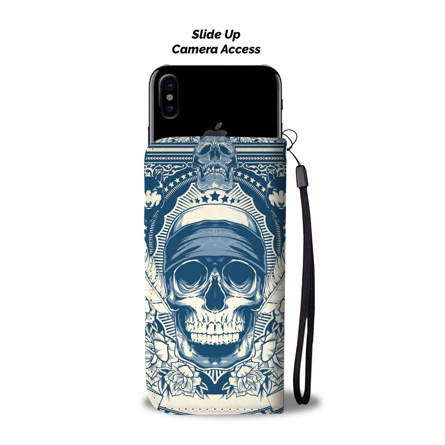 Skull Art Phone Wallet Case 03 - designfullprint