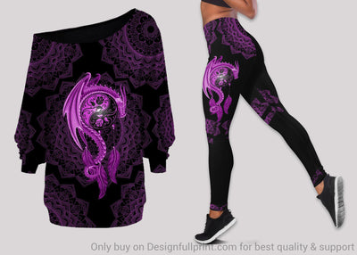 Mandala Purple Dragon Tattoo Off Shoulder Long Sleeves Top and Leggings Set