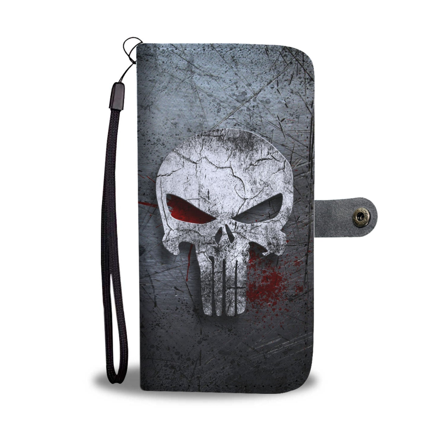 Skull Art Phone Wallet Case 010
