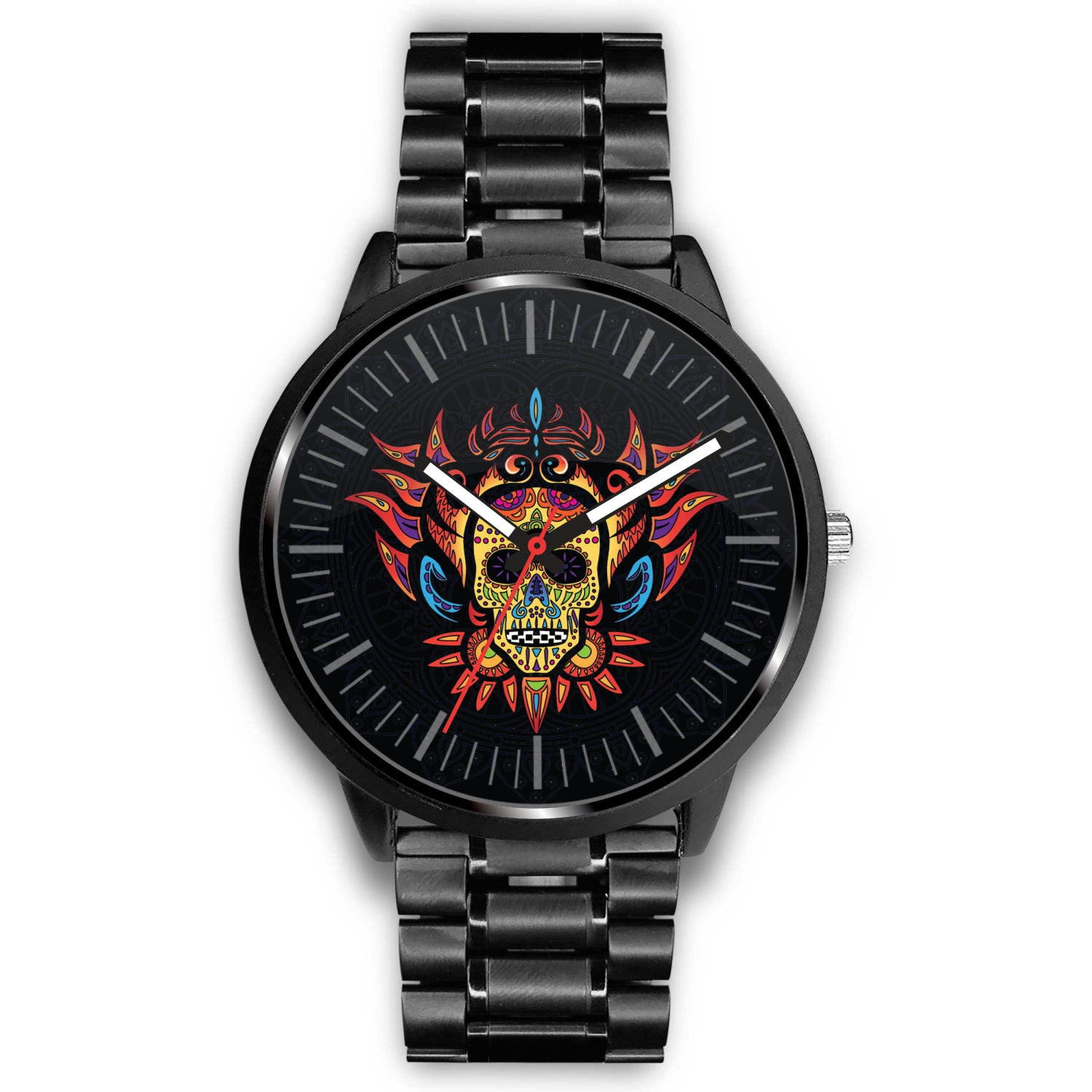 3D Skull Watch - Stainless steel back with leather/ stainless steel band 001