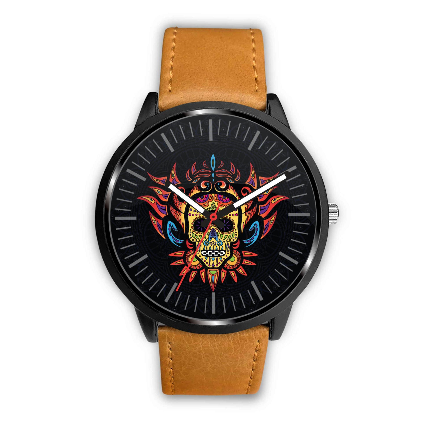 3D Skull Watch - Stainless steel back with leather/ stainless steel band 001 - designfullprint