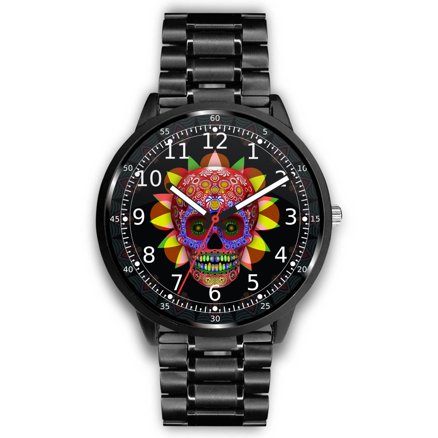 3D Skull Watch - Stainless steel back with leather/ stainless steel band 002