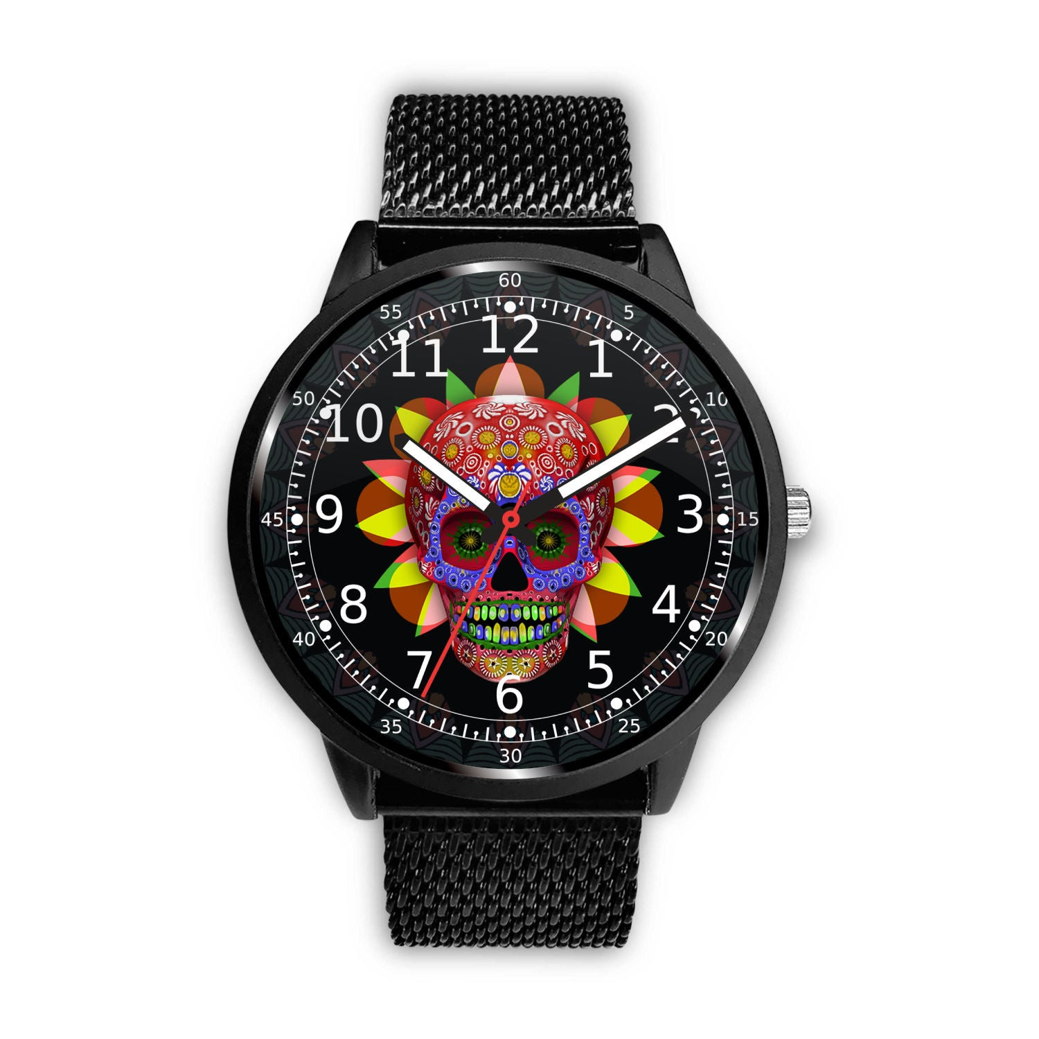 3D Skull Watch - Stainless steel back with leather/ stainless steel band 002 - designfullprint
