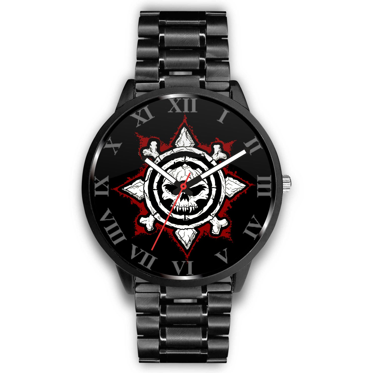 3D Skull Watch - Stainless steel back with leather/ stainless steel band 003