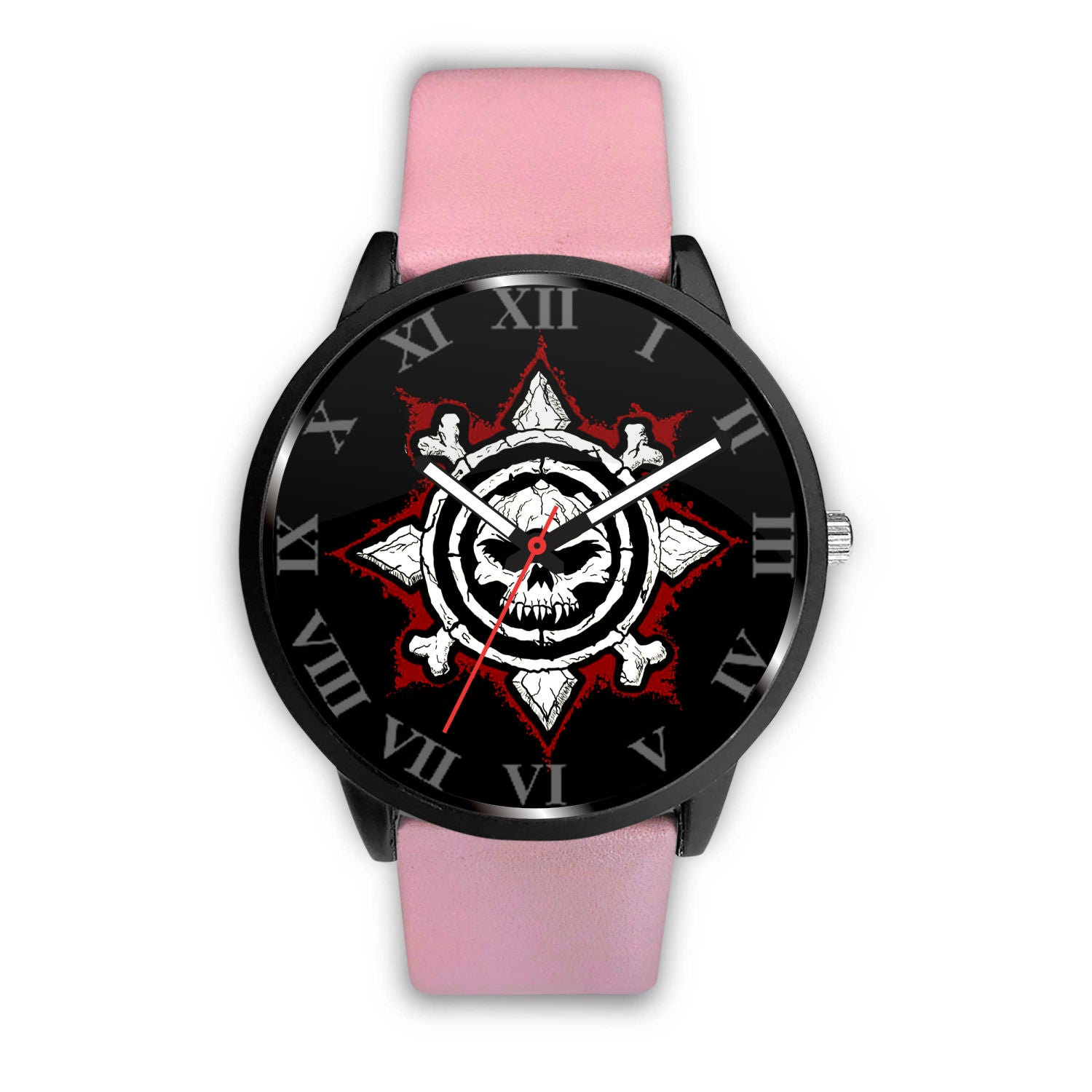 3D Skull Watch - Stainless steel back with leather/ stainless steel band 003 - designfullprint