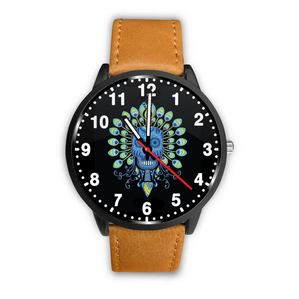 3D Skull Watch - Stainless steel back with leather/ stainless steel band 004 - designfullprint