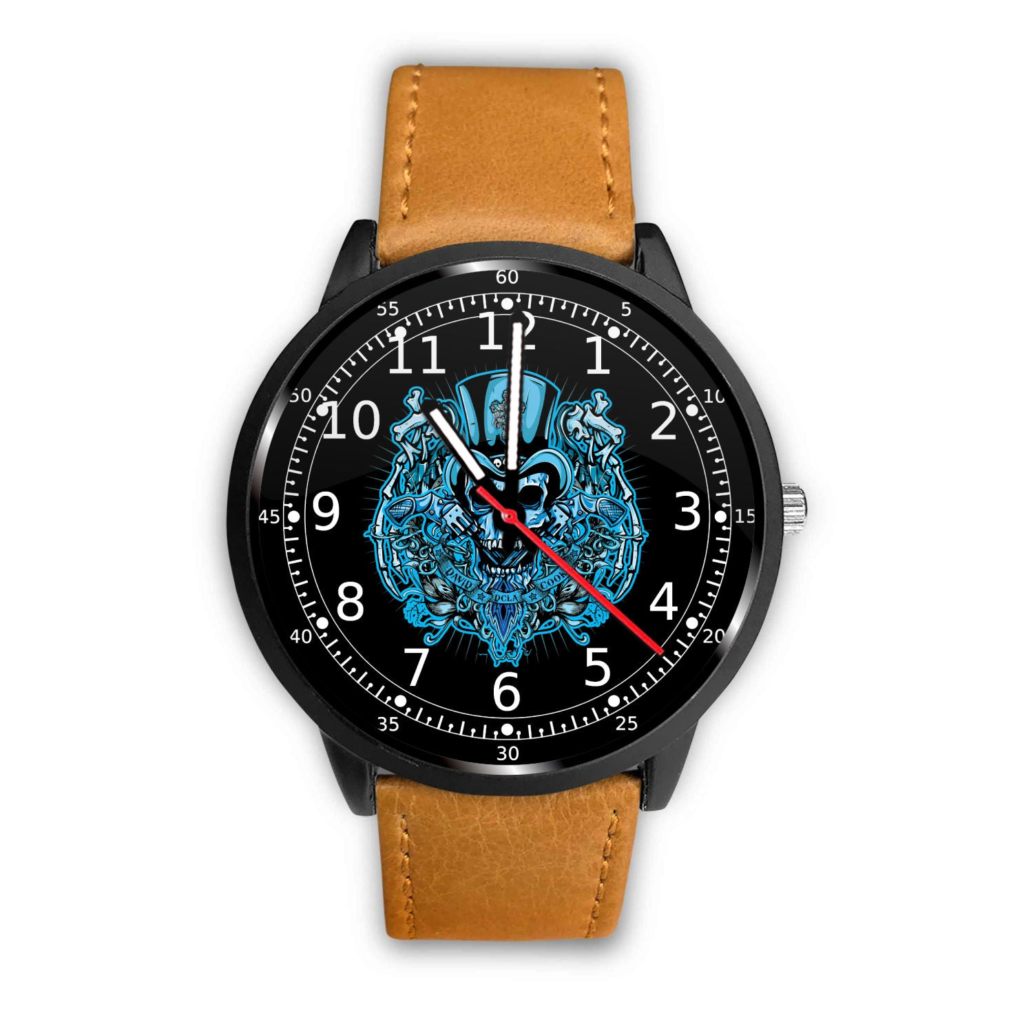 3D Skull Watch - Stainless steel back with leather/ stainless steel band 005