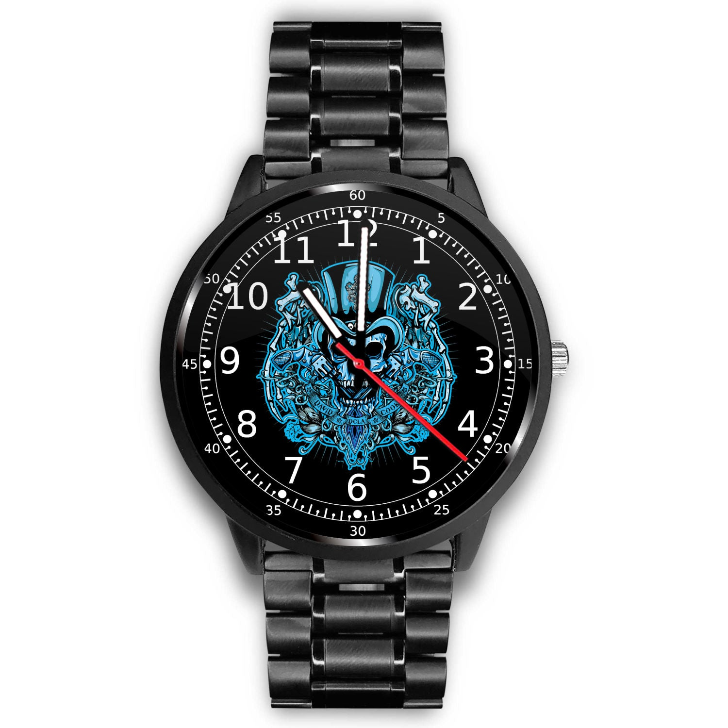 3D Skull Watch - Stainless steel back with leather/ stainless steel band 005 - designfullprint