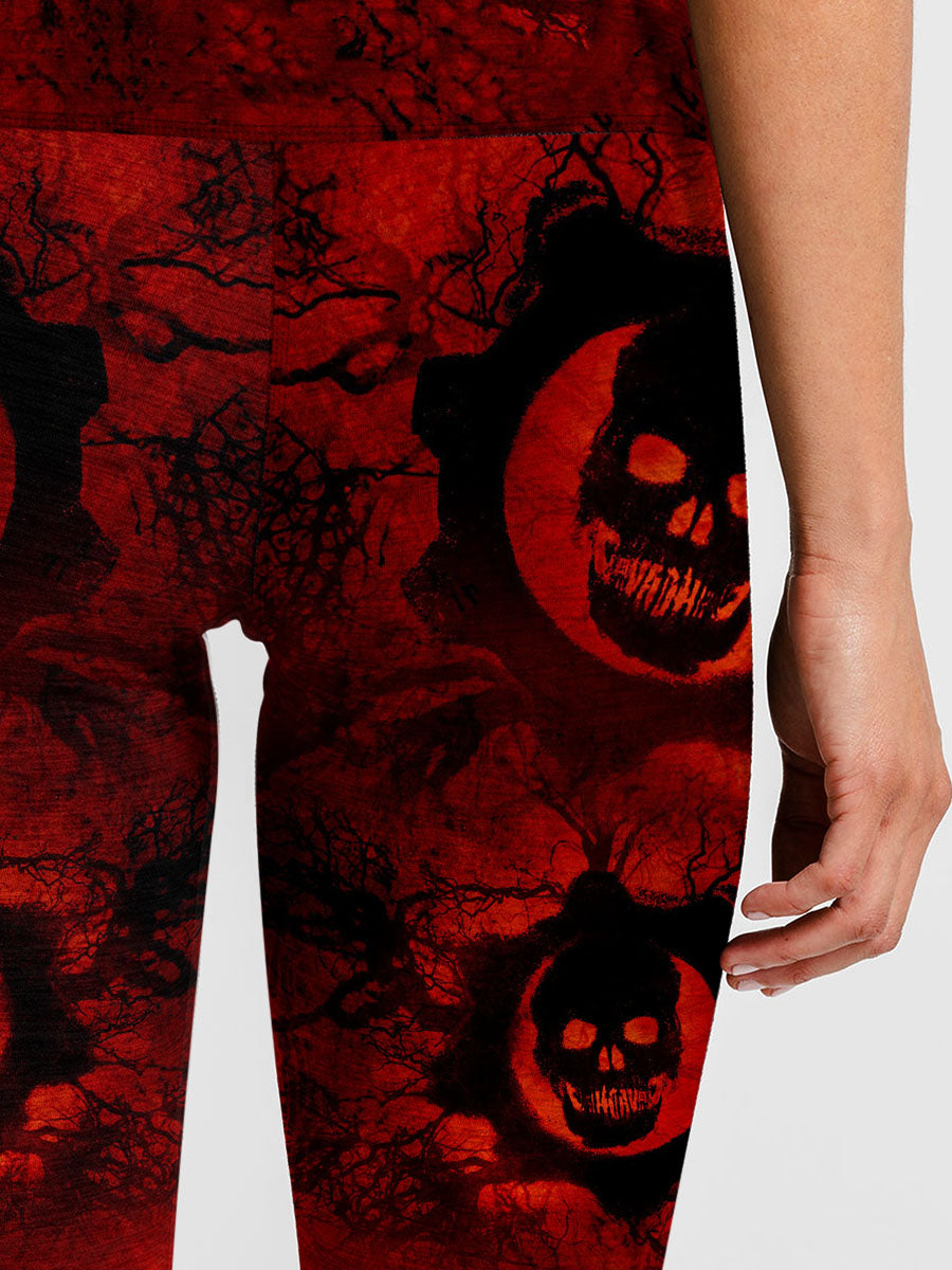 Women Elastic Skinny Sexy Sugar Skull Gym Fitness Sport Leggings 014 - designfullprint