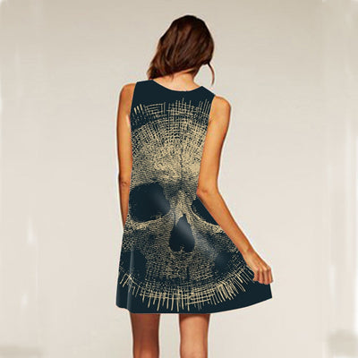 Skull Sleeveless Above Knee Boho Dress - designfullprint