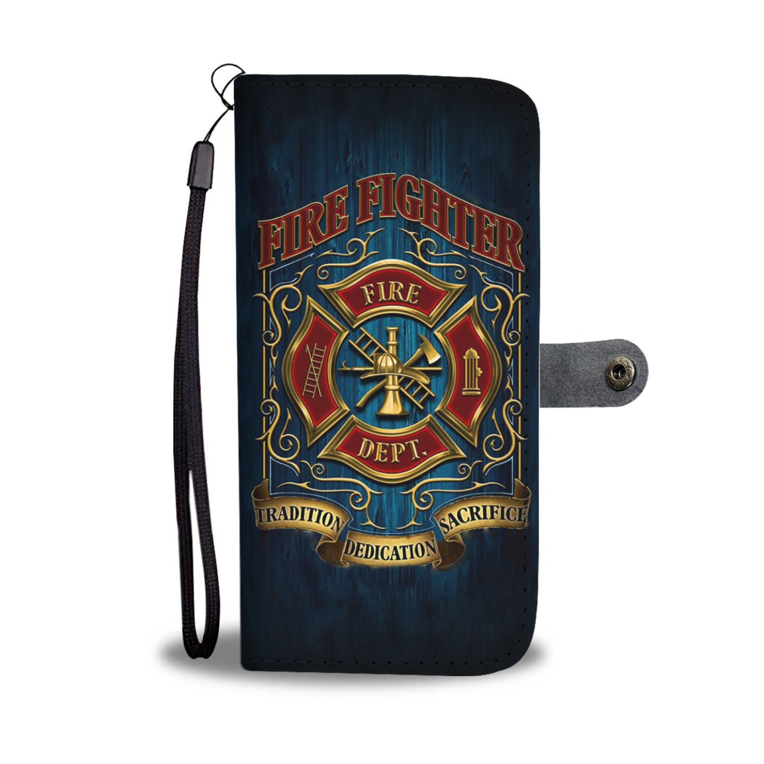 Cell Phone Wallet Case for Universal Models - Fire Rescue Firefighters