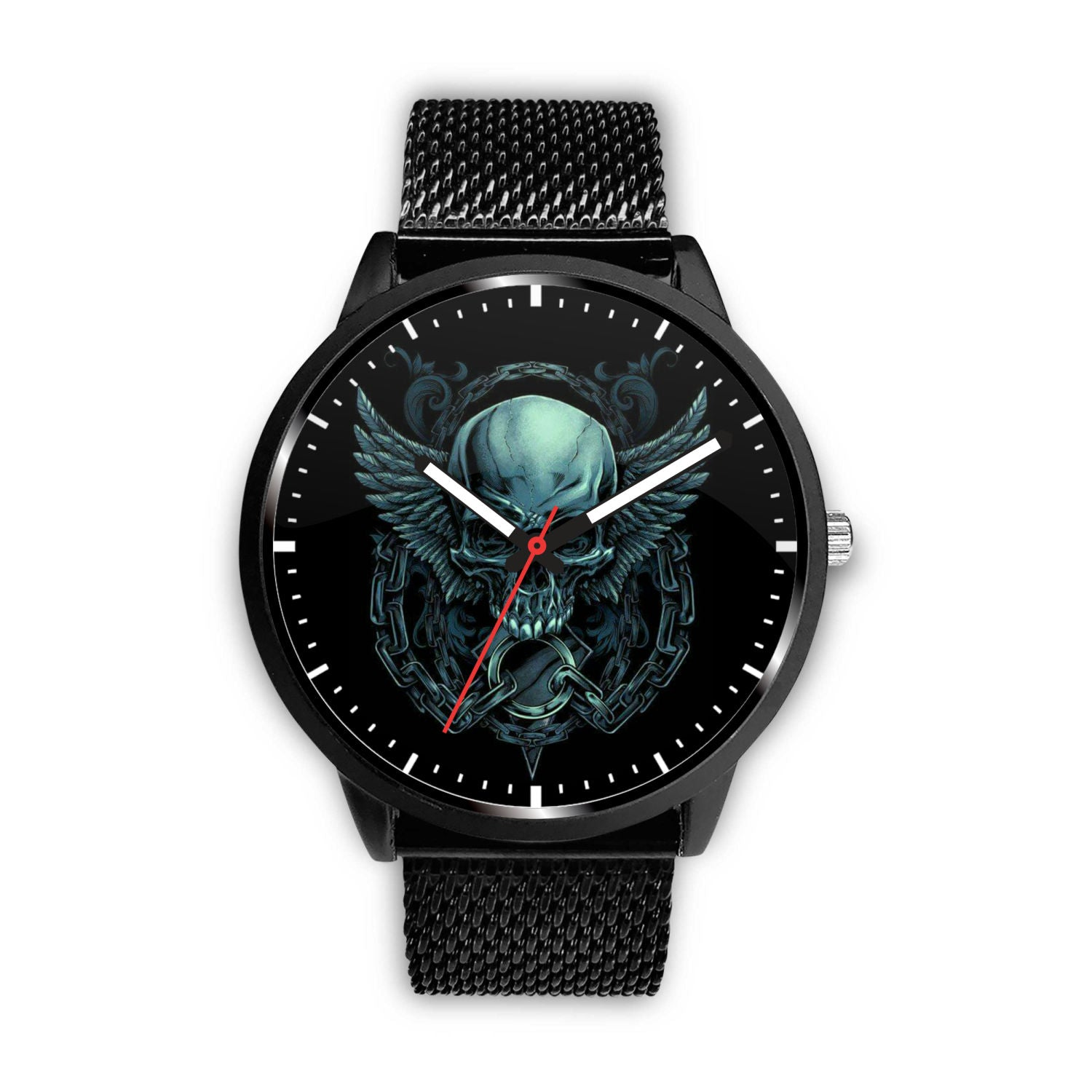 Skull Watch - Stainless steel back with leather/ stainless steel band 007