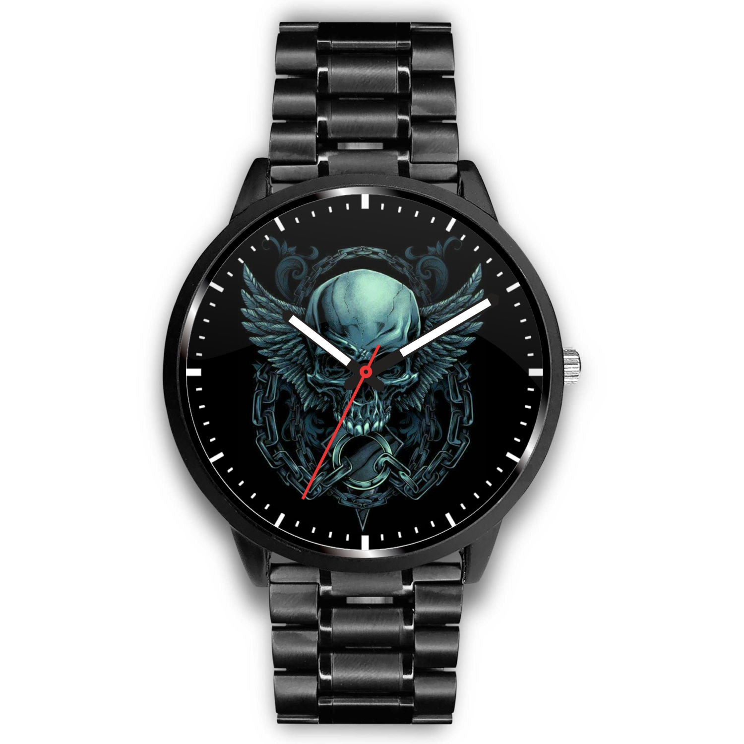 Skull Watch - Stainless steel back with leather/ stainless steel band 007 - designfullprint