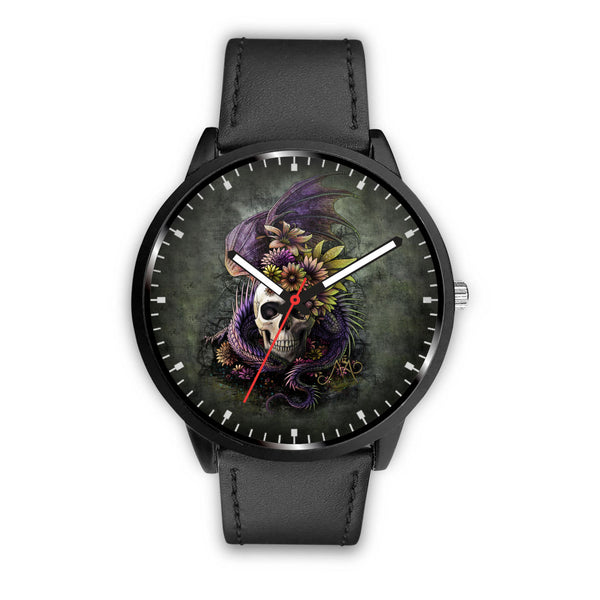 Skull Watch - Stainless steel back with leather/ stainless steel band 008 - designfullprint