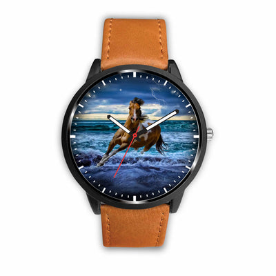 Awesome 3D Blue Sea and Horse - Stainless Steel Back With Leather/ Stainless Steel Band 002