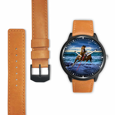 Awesome 3D Blue Sea and Horse - Stainless Steel Back With Leather/ Stainless Steel Band 002 - designfullprint