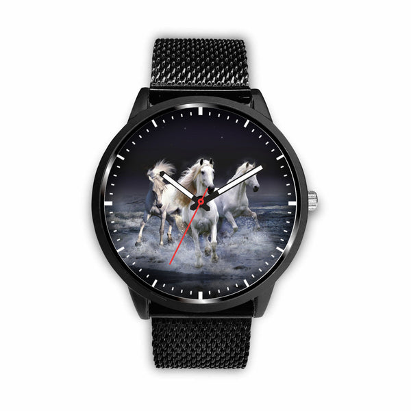 3D White Horses Running In The Sea Watch - Stainless Steel Back With Leather/ Stainless Steel Band 003 - designfullprint