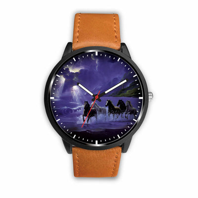 Awesome 3D Horses Galloping Along The Sea Watch - Stainless Steel Back With Leather/ Stainless Steel Band 004
