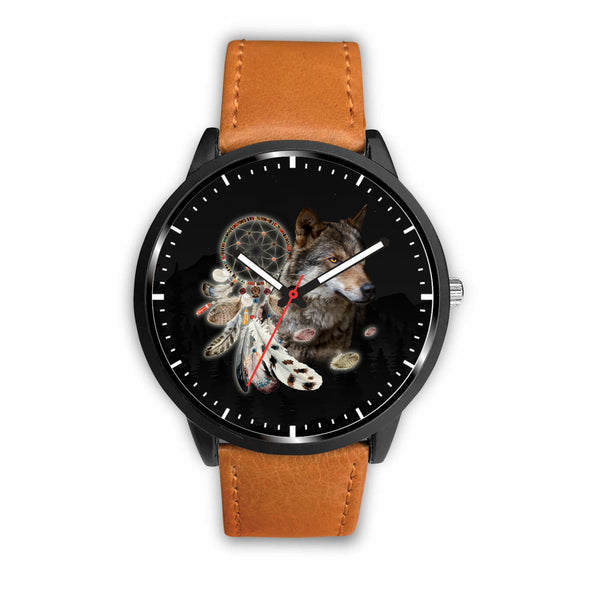 3D Wolf and Dream-catcher Watch - Stainless steel back with leather/ stainless steel band 001 - designfullprint
