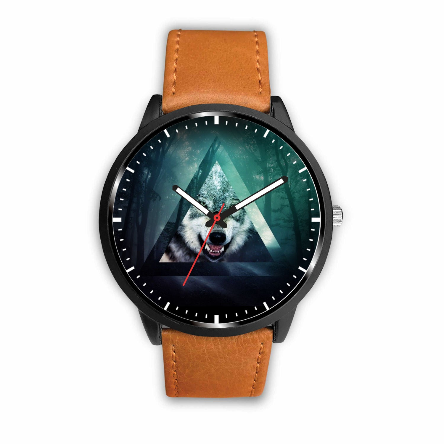 3D Wolf Watch - Stainless steel back with leather/ stainless steel band 002 - designfullprint