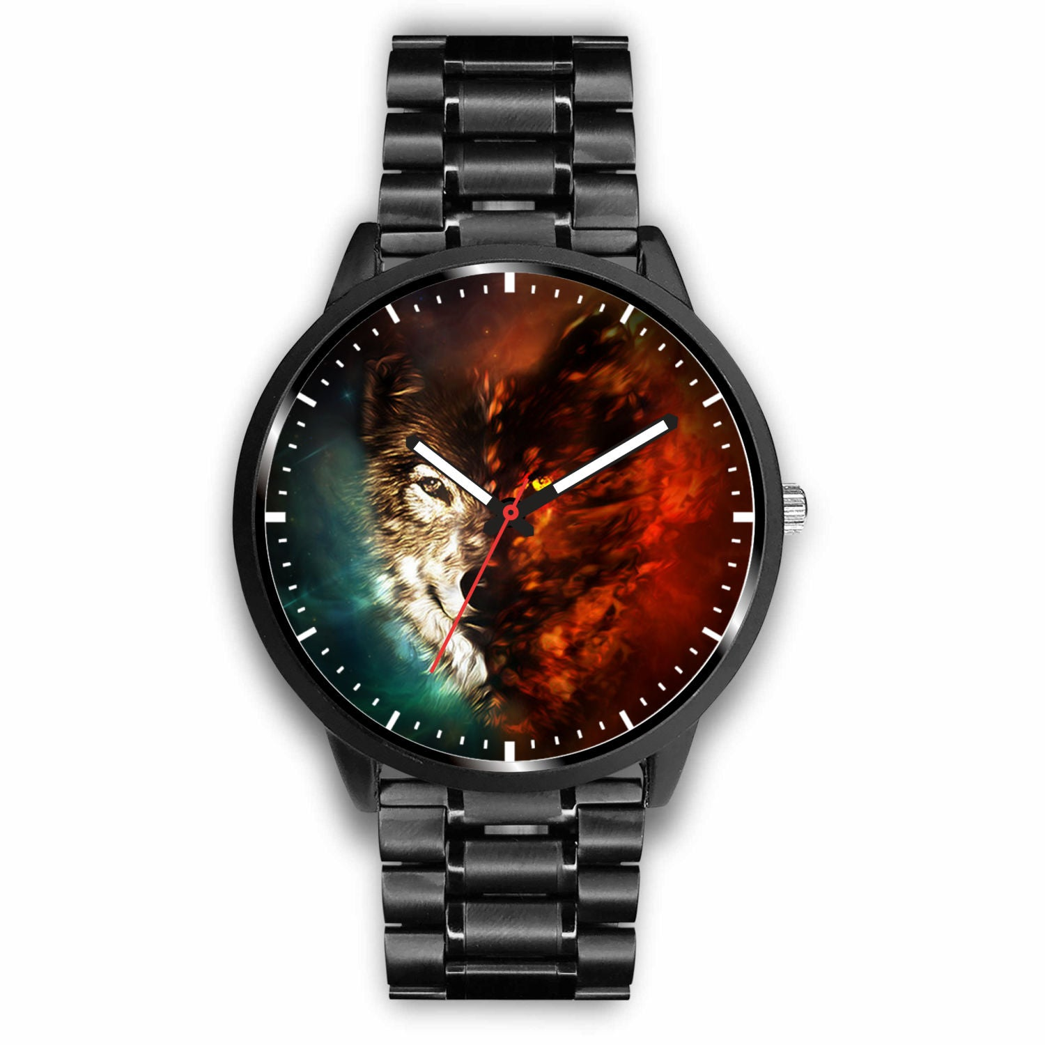 3D Ice and Fire Wolf Watch - Stainless steel back with leather/ stainless steel band 003 - designfullprint