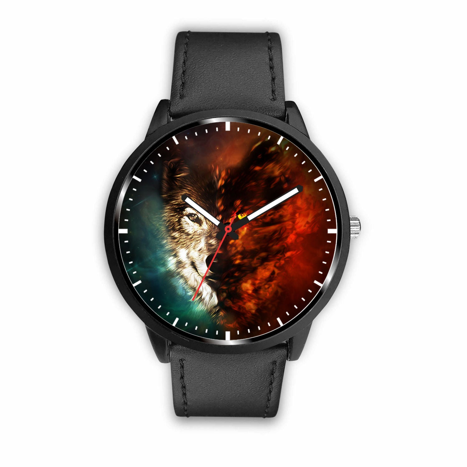 3D Ice and Fire Wolf Watch - Stainless steel back with leather/ stainless steel band 003