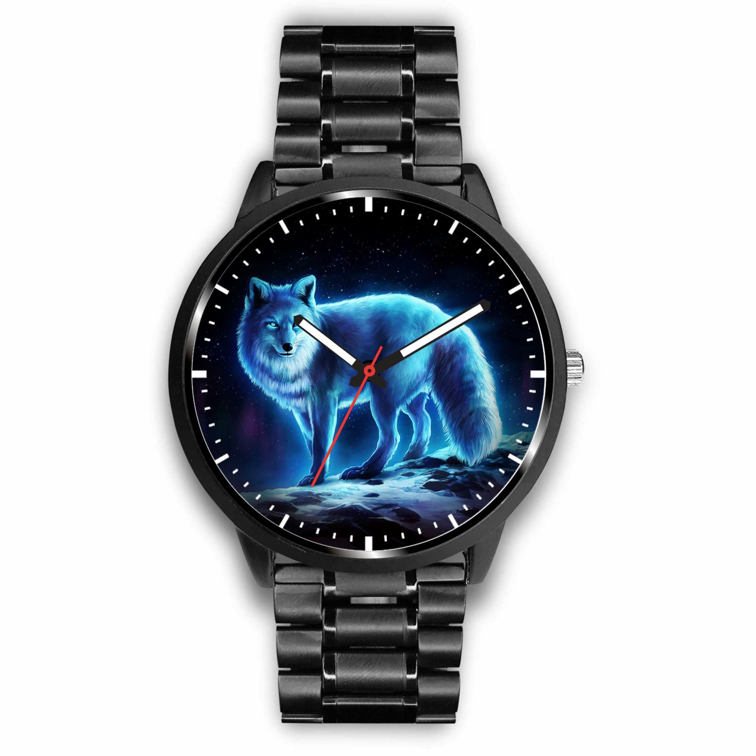 3D Blue Light Wolf Watch - Stainless steel back with leather/ stainless steel band 004