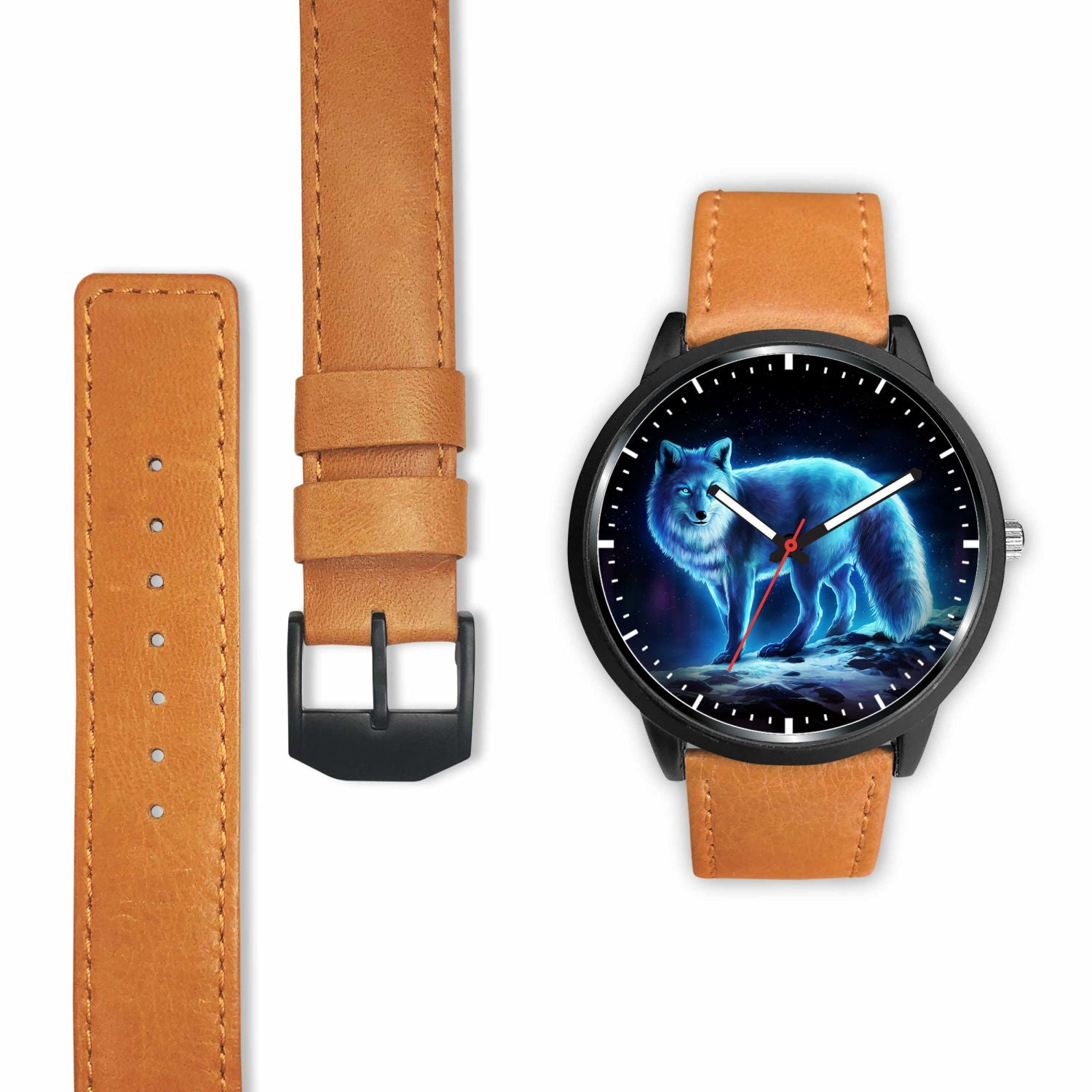 3D Blue Light Wolf Watch - Stainless steel back with leather/ stainless steel band 004 - designfullprint