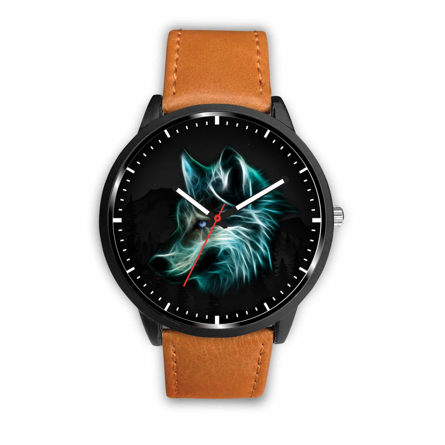 3D Neon Wolf Watch - Stainless steel back with leather/ stainless steel band 005 - designfullprint
