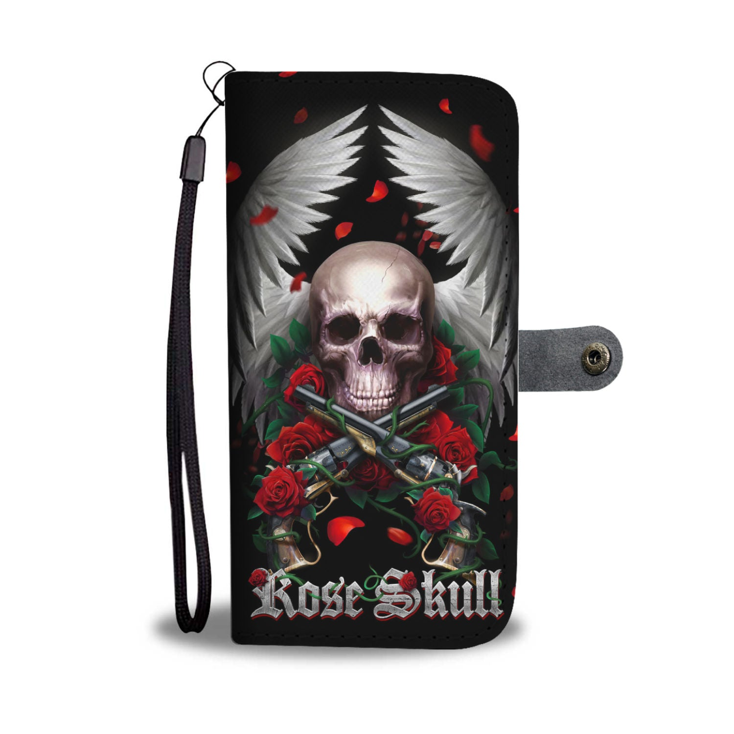 Awesome Cell Phone Wallet Case for Universal Models - Rose and Skull