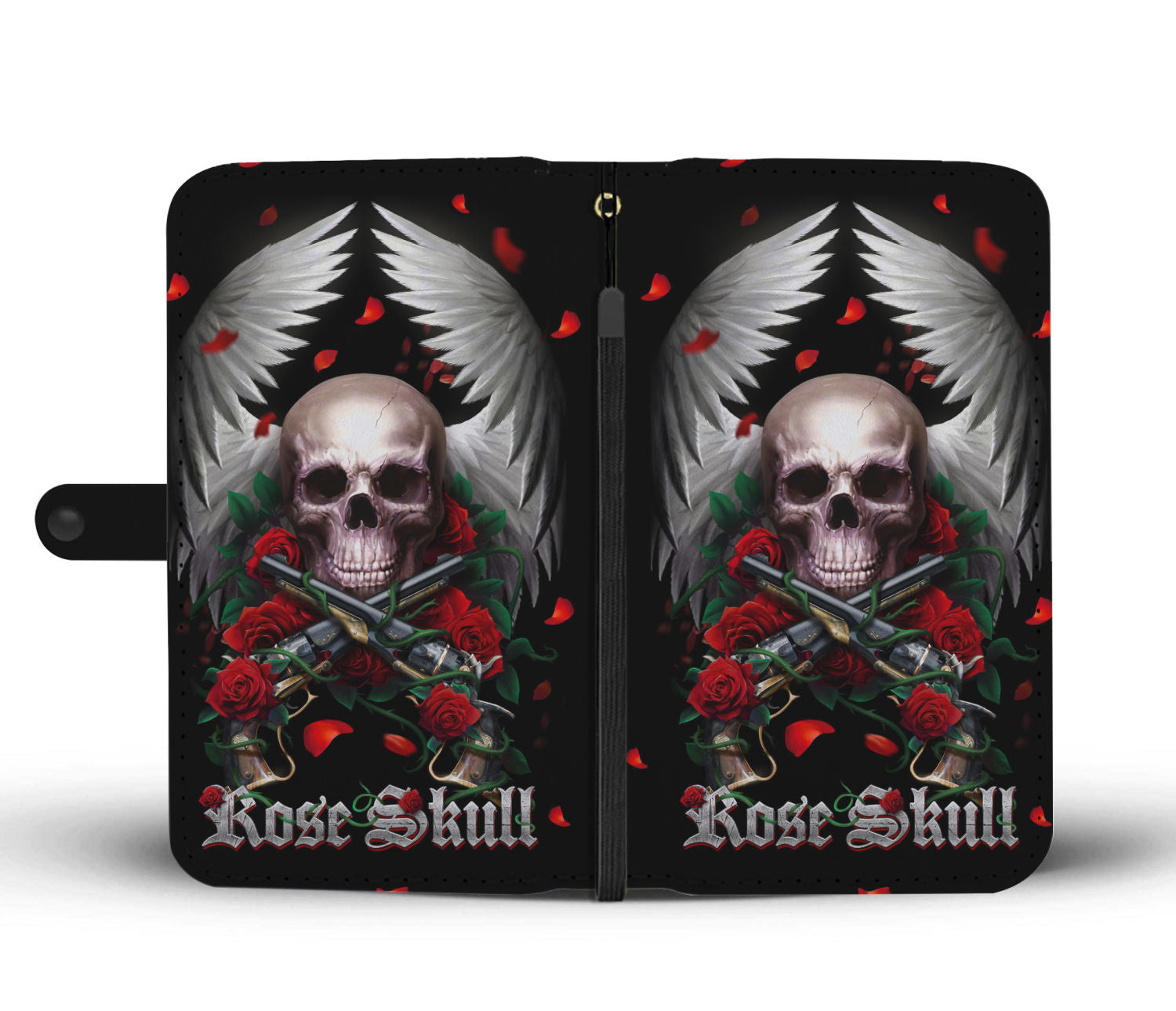 Awesome Cell Phone Wallet Case for Universal Models - Rose and Skull - designfullprint
