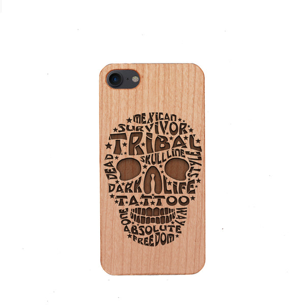 [US Only] Wood Phone Case for Universal Models - Skull 001 - designfullprint