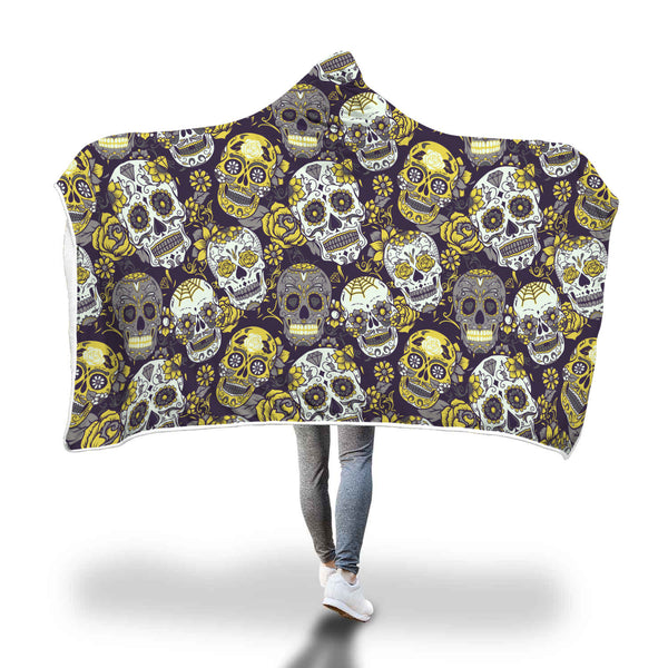 Ultra Soft Wool 3D Skull Hooded Blanket 015 - designfullprint