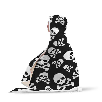 Skull and Crossbone Hooded Blanket - designfullprint
