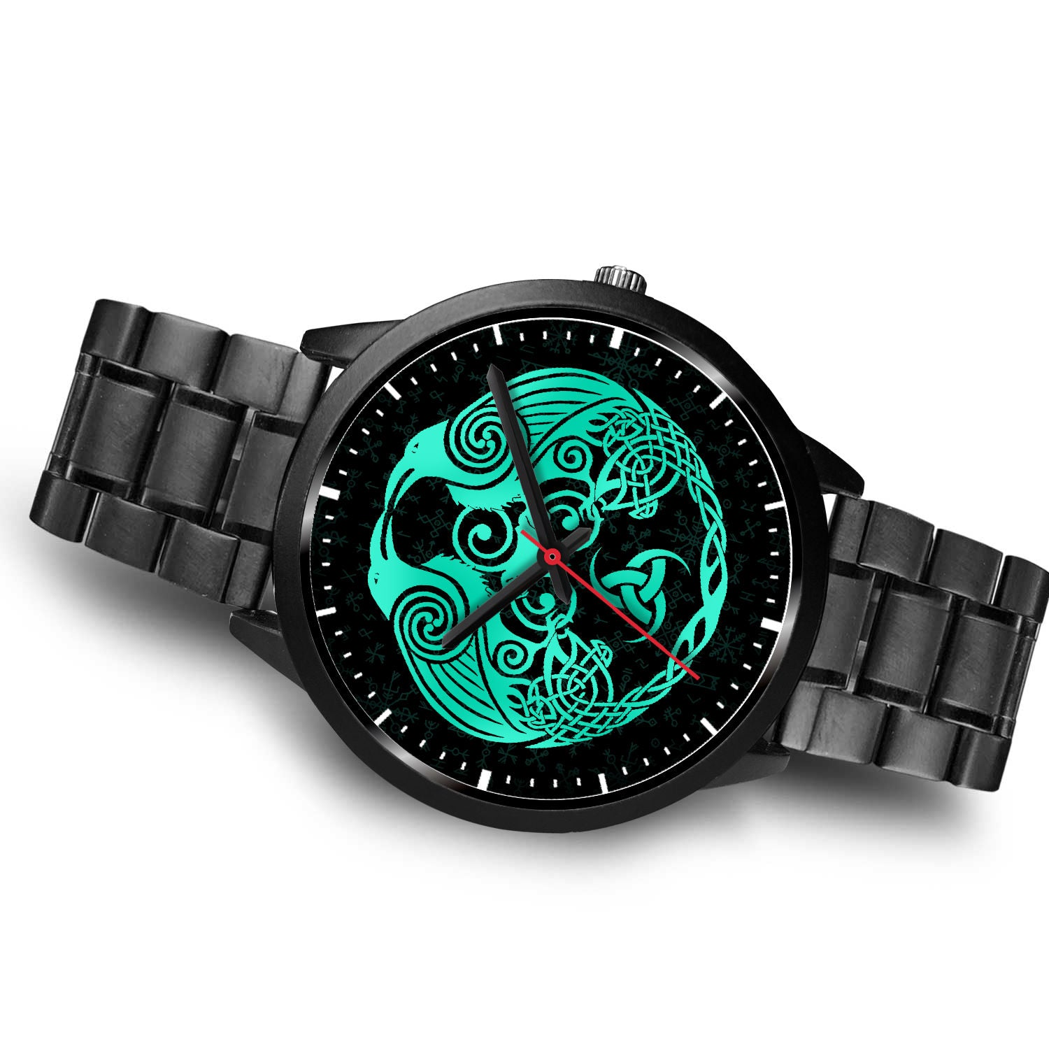 Green Raven Viking Watch - Leather/Stainless Steel Band 001