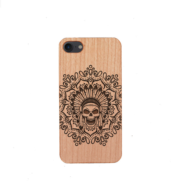 [US Only] Wood Phone Case for Universal Models - Skull 003 - designfullprint