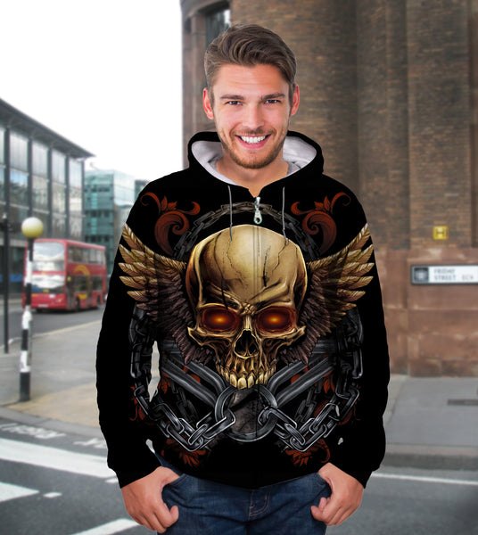 3D Golden Skull Unisex Zip Up Hoodie 013 - designfullprint