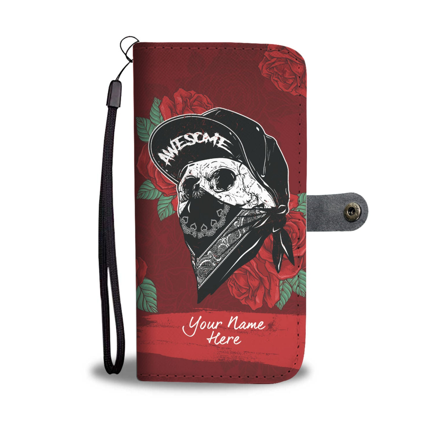 Personalized Skull Red Rose Phone Wallet