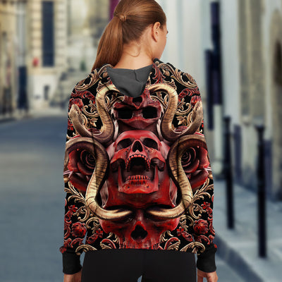 3D Red Skull and Snakes Unisex Zip Up Hoodie 025 - designfullprint