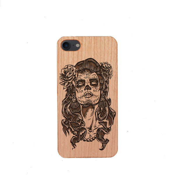 [US Only] Wood Phone Case for Universal Models - Skull 004 - designfullprint