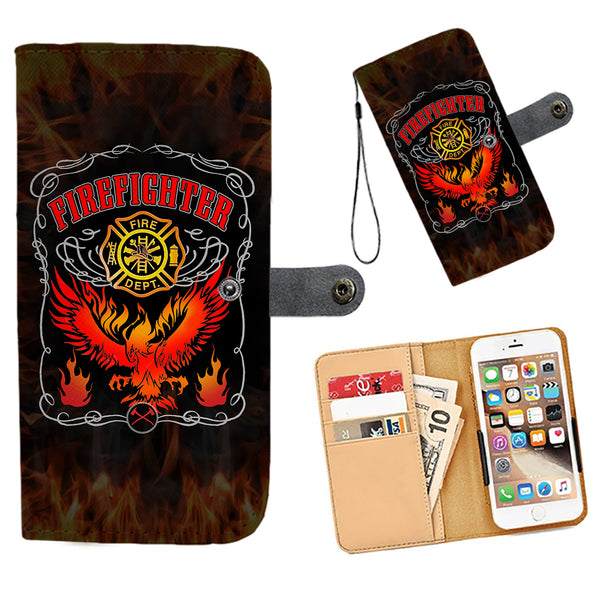 Cell Phone Wallet Case for Universal Models - Fire Dept FireFighter Fire Rescue 001