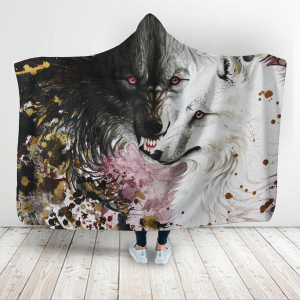 Black and White Wolf Super Soft Hooded Blanket - designfullprint