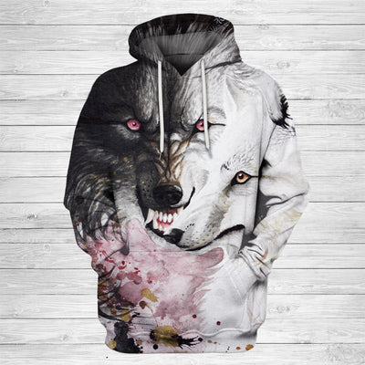 Unisex Black and White Wolf Art Hoodie 001