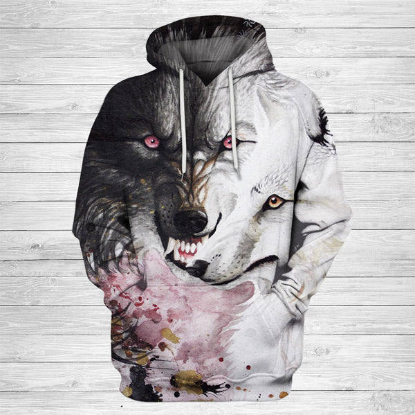 Unisex Black and White Wolf Art Hoodie 001 - designfullprint