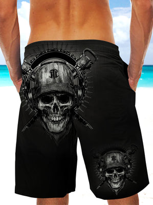 Black Skull and Sword Ultra-light Drawstring Shorts for Men 014