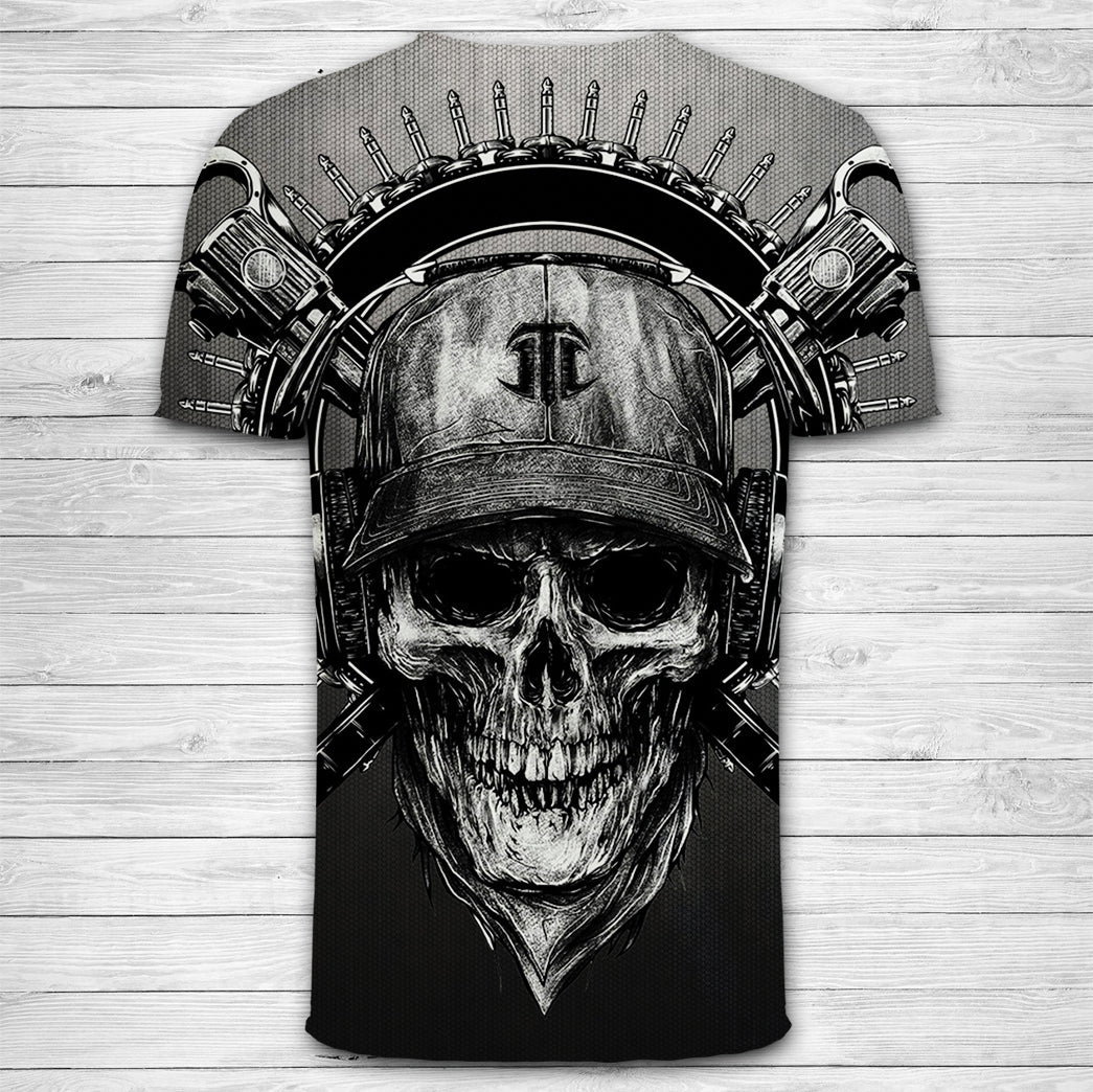 3D Black SKull and Sword Print T-Shirt 017 - designfullprint